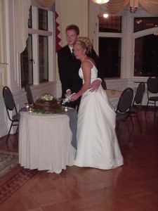 Alisa and Kirk cutting their wedding cake